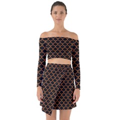 Scales1 Black Marble & Rusted Metal (r) Off Shoulder Top With Skirt Set