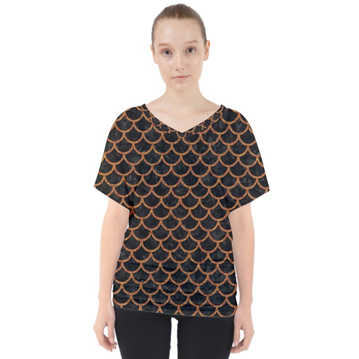 SCALES1 BLACK MARBLE & RUSTED METAL (R) V-Neck Dolman Drape Top