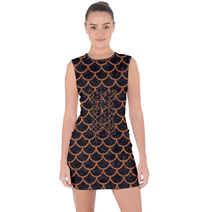 SCALES1 BLACK MARBLE & RUSTED METAL (R) Lace Up Front Bodycon Dress