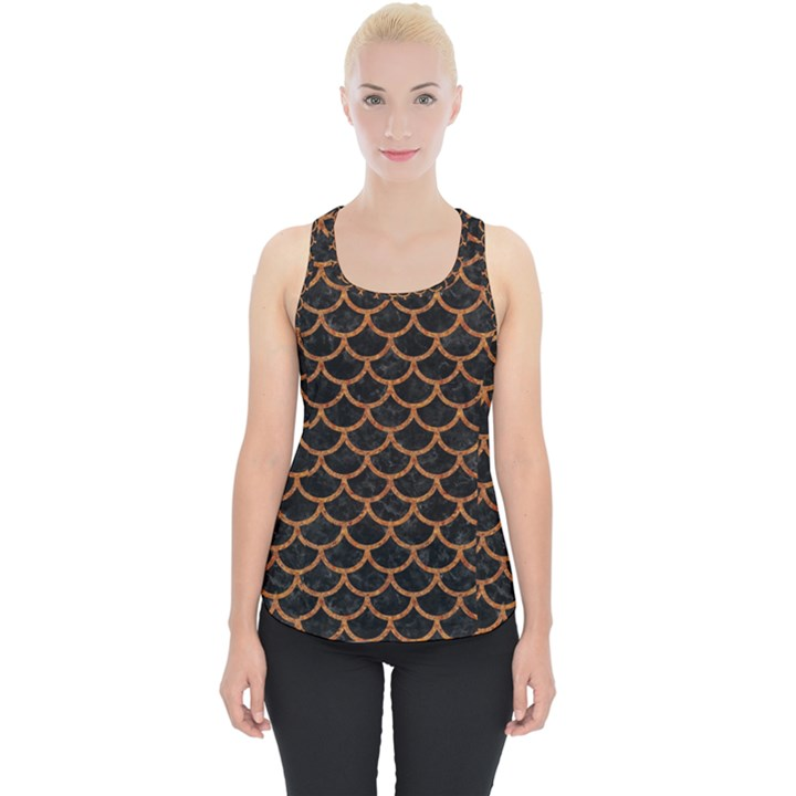 SCALES1 BLACK MARBLE & RUSTED METAL (R) Piece Up Tank Top