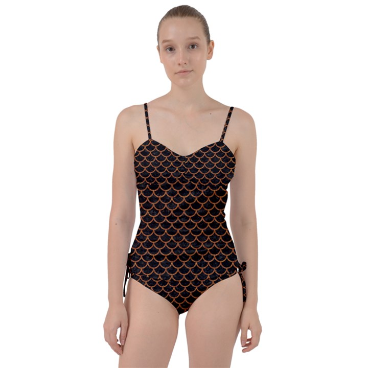 SCALES1 BLACK MARBLE & RUSTED METAL (R) Sweetheart Tankini Set
