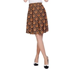 Scales2 Black Marble & Rusted Metal A Line Skirt