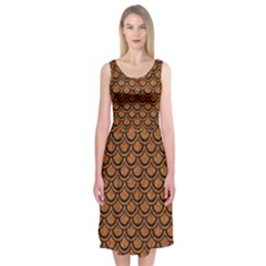 Scales2 Black Marble & Rusted Metal Midi Sleeveless Dress