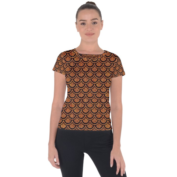 SCALES2 BLACK MARBLE & RUSTED METAL Short Sleeve Sports Top