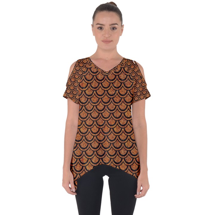 SCALES2 BLACK MARBLE & RUSTED METAL Cut Out Side Drop Tee