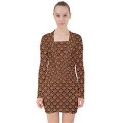 Scales2 Black Marble & Rusted Metal V Neck Bodycon Long Sleeve Dress