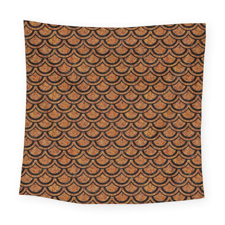 SCALES2 BLACK MARBLE & RUSTED METAL Square Tapestry (Large)