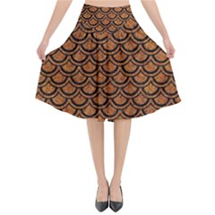 Scales2 Black Marble & Rusted Metal Flared Midi Skirt