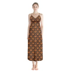 Scales2 Black Marble & Rusted Metal Button Up Chiffon Maxi Dress