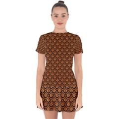 Scales2 Black Marble & Rusted Metal Drop Hem Mini Chiffon Dress