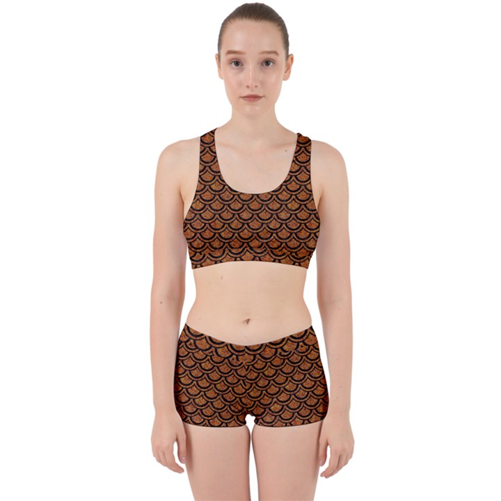SCALES2 BLACK MARBLE & RUSTED METAL Work It Out Sports Bra Set