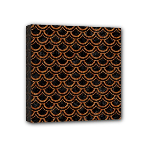Scales2 Black Marble & Rusted Metal (r) Mini Canvas 4  X 4