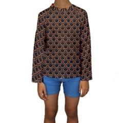 Scales2 Black Marble & Rusted Metal (r) Kids  Long Sleeve Swimwear