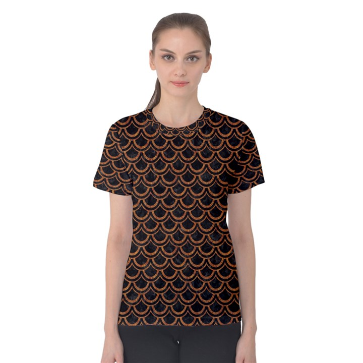 SCALES2 BLACK MARBLE & RUSTED METAL (R) Women s Cotton Tee
