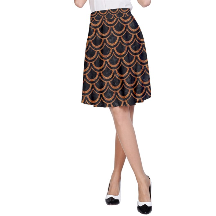 SCALES2 BLACK MARBLE & RUSTED METAL (R) A-Line Skirt