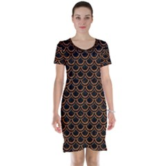 Scales2 Black Marble & Rusted Metal (r) Short Sleeve Nightdress