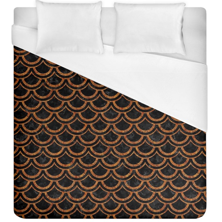 SCALES2 BLACK MARBLE & RUSTED METAL (R) Duvet Cover (King Size)