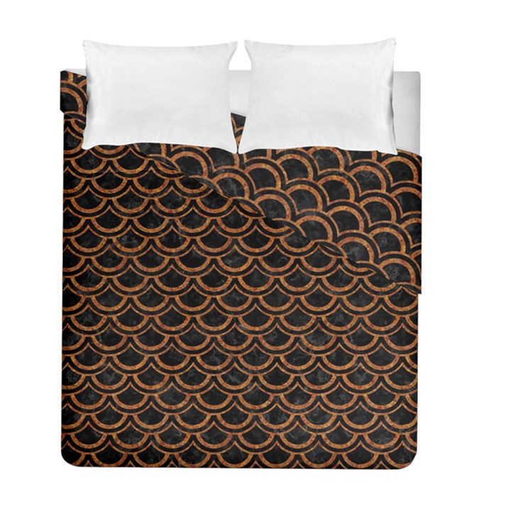 SCALES2 BLACK MARBLE & RUSTED METAL (R) Duvet Cover Double Side (Full/ Double Size)