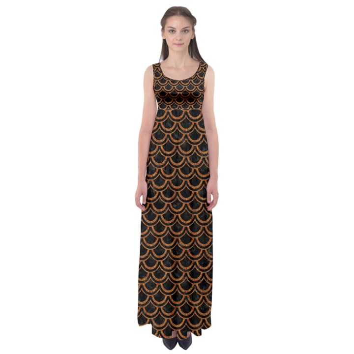 SCALES2 BLACK MARBLE & RUSTED METAL (R) Empire Waist Maxi Dress