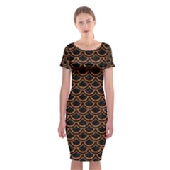 Scales2 Black Marble & Rusted Metal (r) Classic Short Sleeve Midi Dress