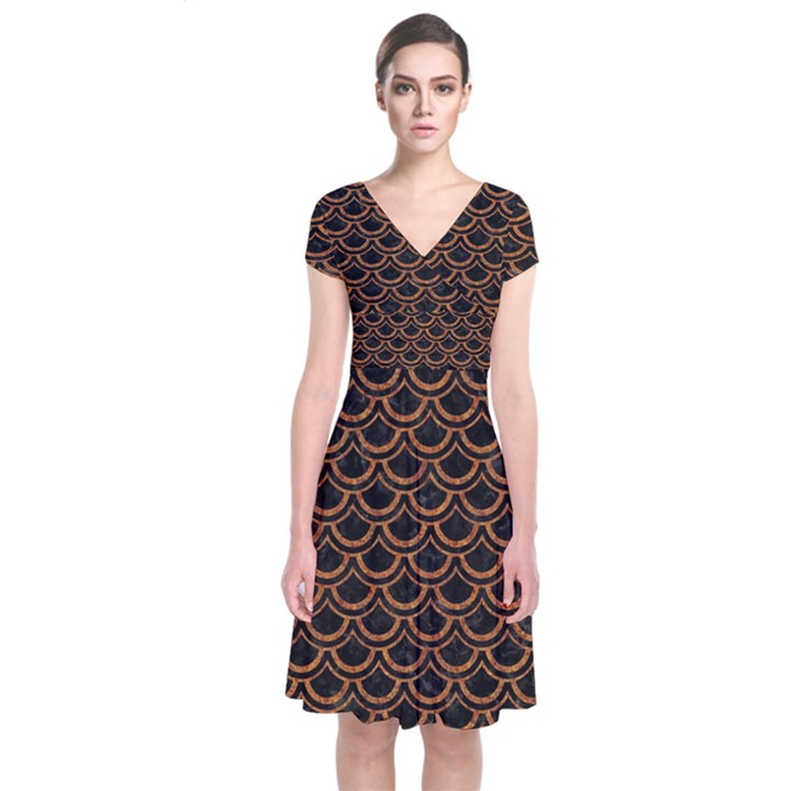 SCALES2 BLACK MARBLE & RUSTED METAL (R) Short Sleeve Front Wrap Dress