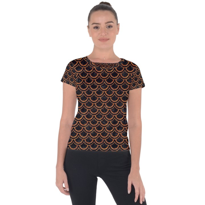 SCALES2 BLACK MARBLE & RUSTED METAL (R) Short Sleeve Sports Top