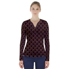 Scales2 Black Marble & Rusted Metal (r) V Neck Long Sleeve Top