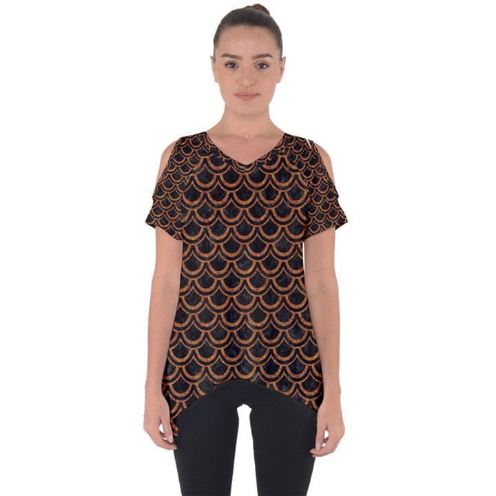 SCALES2 BLACK MARBLE & RUSTED METAL (R) Cut Out Side Drop Tee