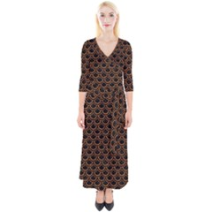 Scales2 Black Marble & Rusted Metal (r) Quarter Sleeve Wrap Maxi Dress