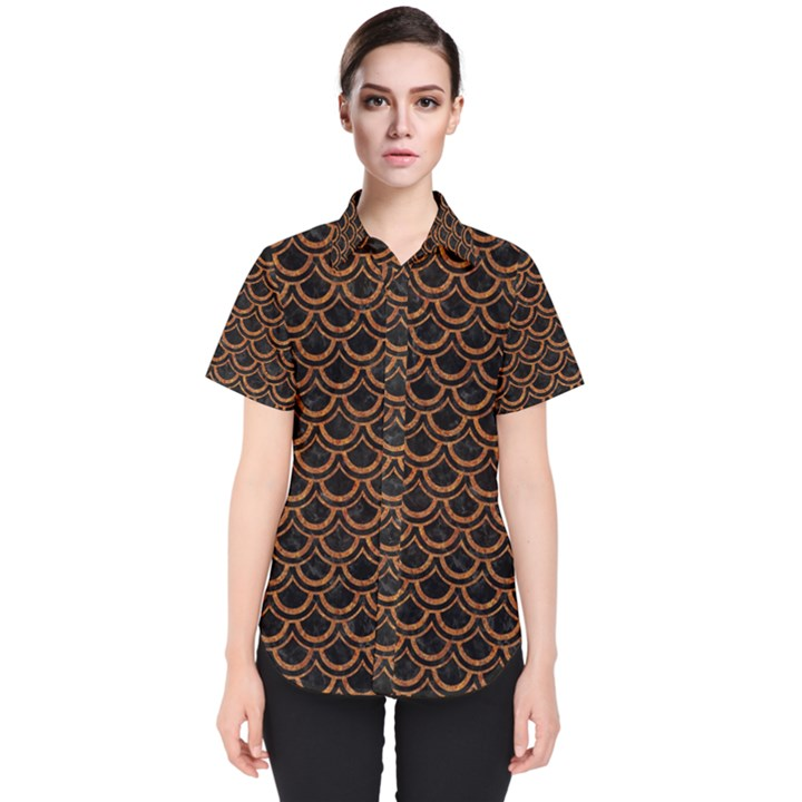 SCALES2 BLACK MARBLE & RUSTED METAL (R) Women s Short Sleeve Shirt