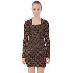 Scales2 Black Marble & Rusted Metal (r) V Neck Bodycon Long Sleeve Dress