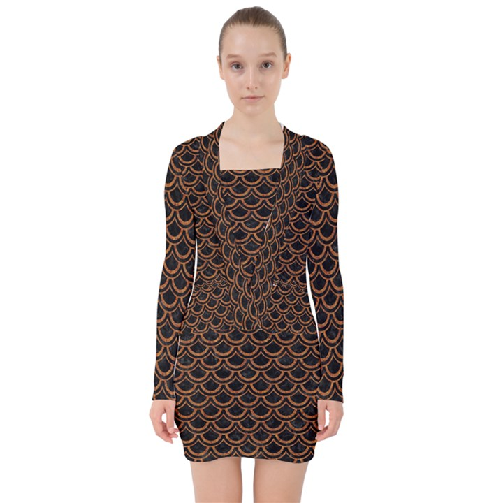 SCALES2 BLACK MARBLE & RUSTED METAL (R) V-neck Bodycon Long Sleeve Dress