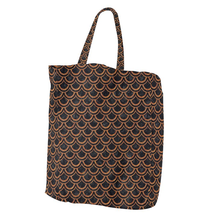 SCALES2 BLACK MARBLE & RUSTED METAL (R) Giant Grocery Zipper Tote