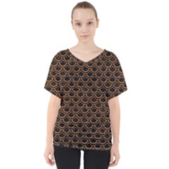 Scales2 Black Marble & Rusted Metal (r) V Neck Dolman Drape Top