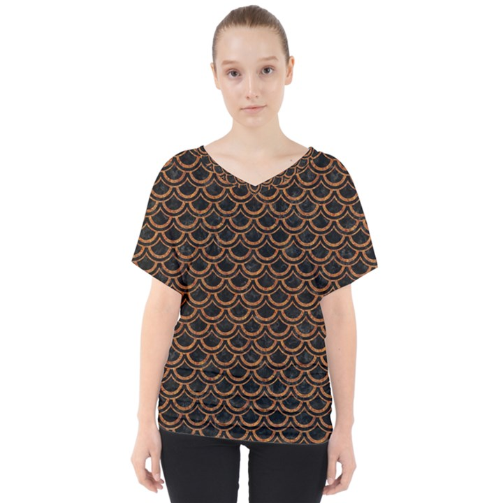 SCALES2 BLACK MARBLE & RUSTED METAL (R) V-Neck Dolman Drape Top
