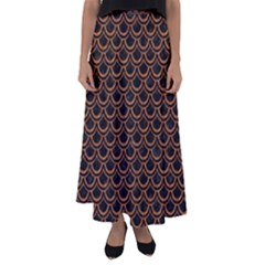 Scales2 Black Marble & Rusted Metal (r) Flared Maxi Skirt