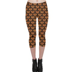 Scales3 Black Marble & Rusted Metal Capri Leggings