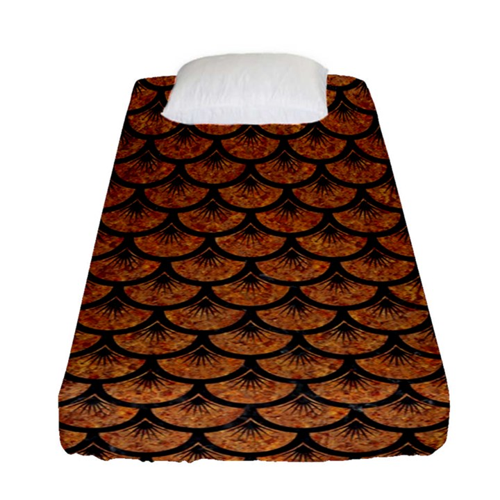 SCALES3 BLACK MARBLE & RUSTED METAL Fitted Sheet (Single Size)