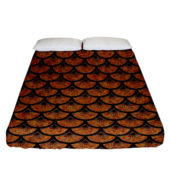 SCALES3 BLACK MARBLE & RUSTED METAL Fitted Sheet (Queen Size)