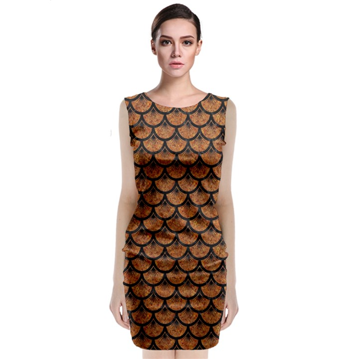SCALES3 BLACK MARBLE & RUSTED METAL Classic Sleeveless Midi Dress