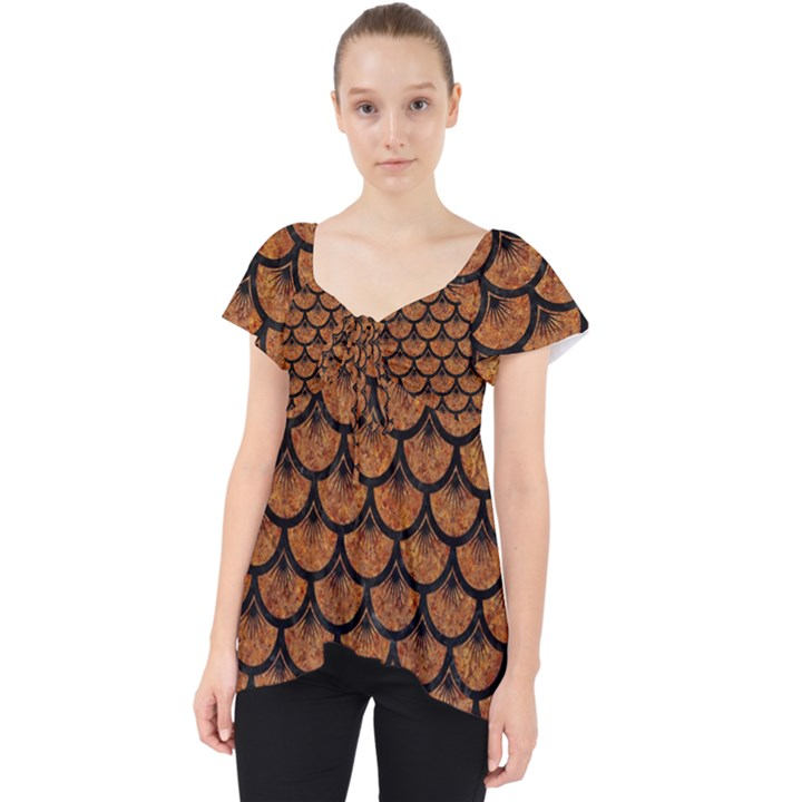 SCALES3 BLACK MARBLE & RUSTED METAL Lace Front Dolly Top