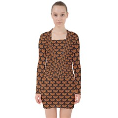 Scales3 Black Marble & Rusted Metal V Neck Bodycon Long Sleeve Dress