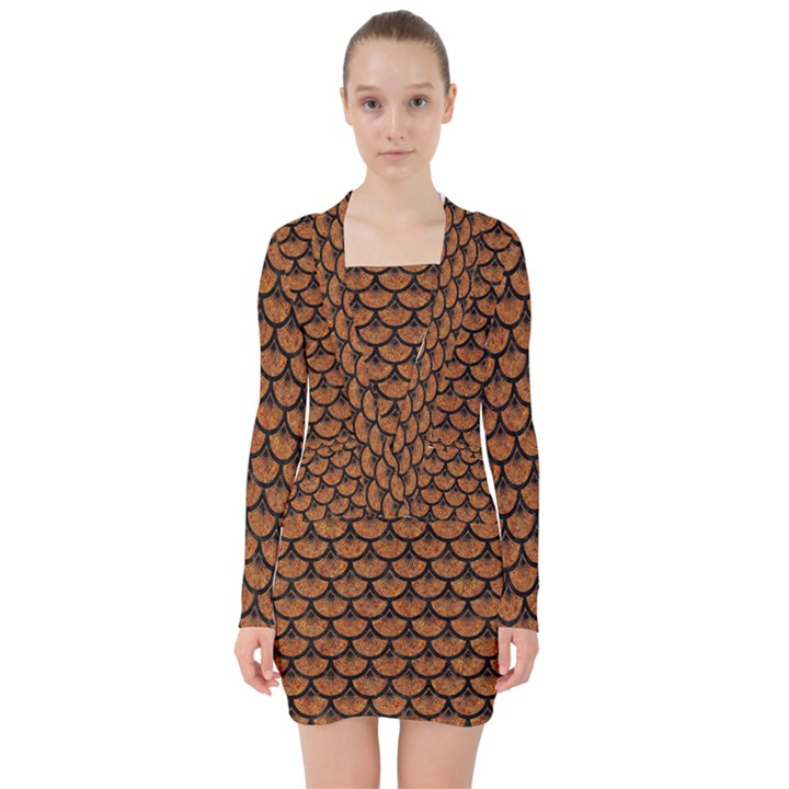 SCALES3 BLACK MARBLE & RUSTED METAL V-neck Bodycon Long Sleeve Dress