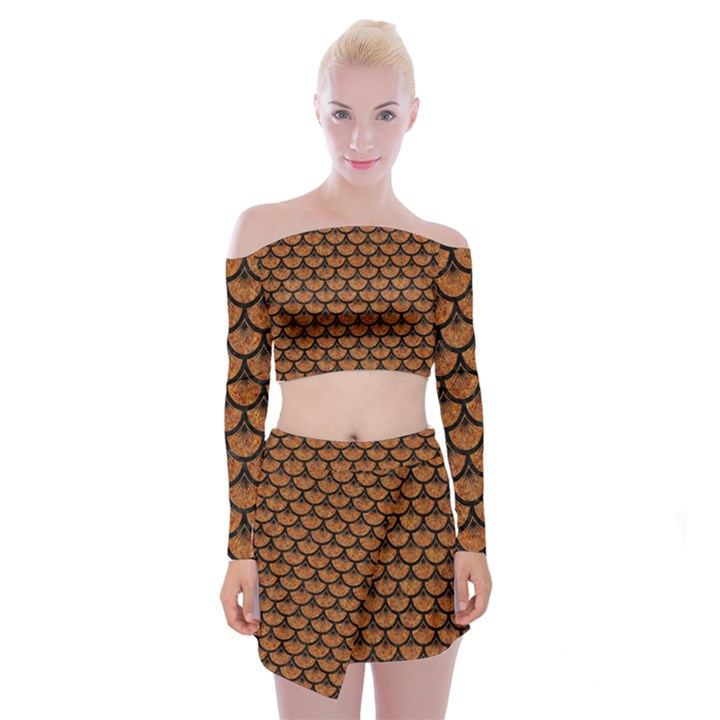 SCALES3 BLACK MARBLE & RUSTED METAL Off Shoulder Top with Mini Skirt Set