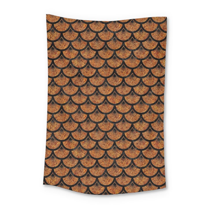 SCALES3 BLACK MARBLE & RUSTED METAL Small Tapestry