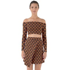 Scales3 Black Marble & Rusted Metal Off Shoulder Top With Skirt Set