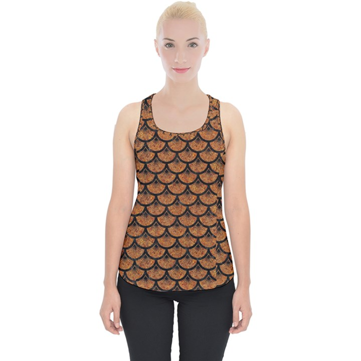SCALES3 BLACK MARBLE & RUSTED METAL Piece Up Tank Top