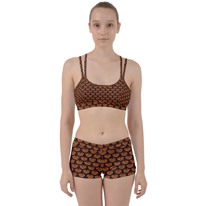 SCALES3 BLACK MARBLE & RUSTED METAL Women s Sports Set