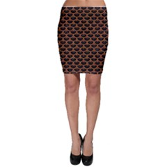 Scales3 Black Marble & Rusted Metal (r) Bodycon Skirt