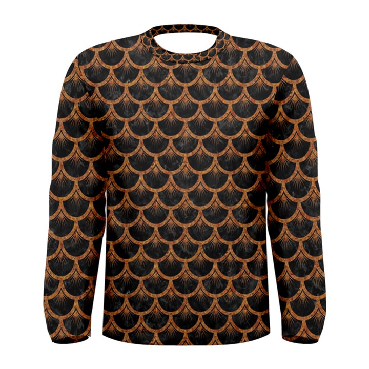 SCALES3 BLACK MARBLE & RUSTED METAL (R) Men s Long Sleeve Tee